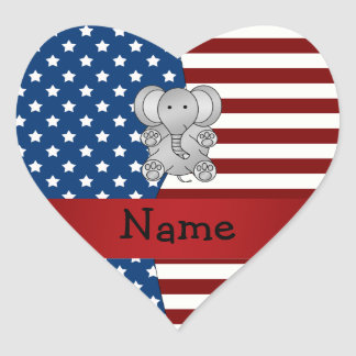 Personalized name Patriotic elephant Heart Stickers