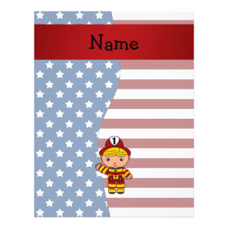 "Personalized name Patriotic fireman 8.5"" X 11"" Flyer"