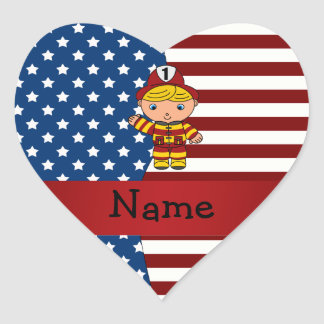 Personalized name Patriotic fireman Heart Sticker