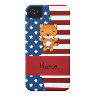 Personalized name Patriotic fox iPhone 4 Case-Mate Cases