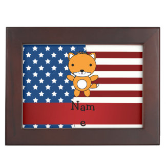 Personalized name Patriotic fox Memory Box
