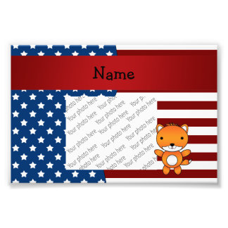 Personalized name Patriotic fox Photo Print