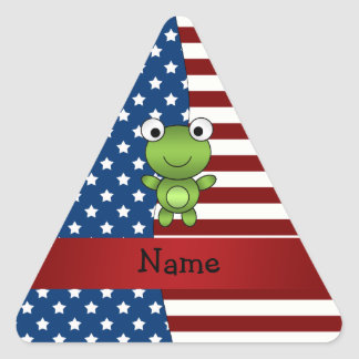 Personalized name Patriotic frog Triangle Sticker