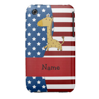 Personalized name Patriotic giraffe iPhone 3 Covers