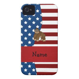 Personalized name Patriotic gorilla iPhone 4 Case-Mate Cases