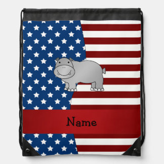 Personalized name Patriotic hippo Drawstring Backpack