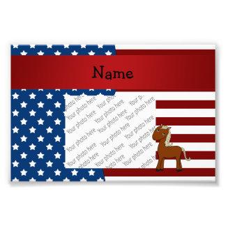 Personalized name Patriotic horse Photo Print