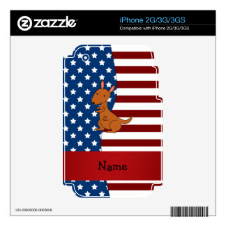 Personalized name Patriotic kangaroo Decals For The iPhone 3GS
