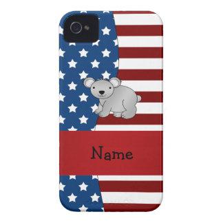 Personalized name Patriotic koala bear iPhone 4 Case