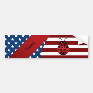 Personalized name Patriotic ladybug Bumper Stickers