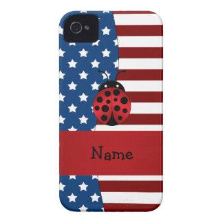 Personalized name Patriotic ladybug iPhone 4 Case