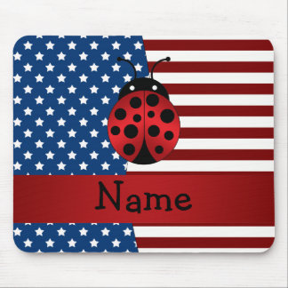 Personalized name Patriotic ladybug Mouse Pad
