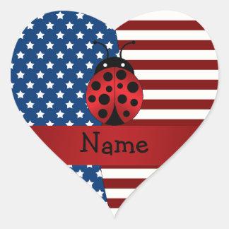 Personalized name Patriotic ladybug Sticker