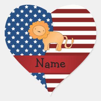 Personalized name Patriotic lion Sticker