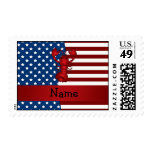 Personalized name Patriotic lobster Postage