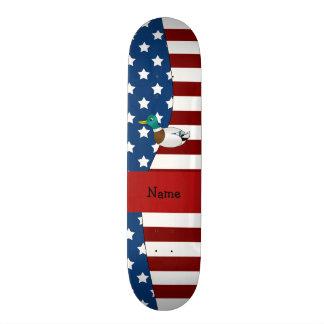 Personalized name Patriotic mallard duck Skate Board Decks