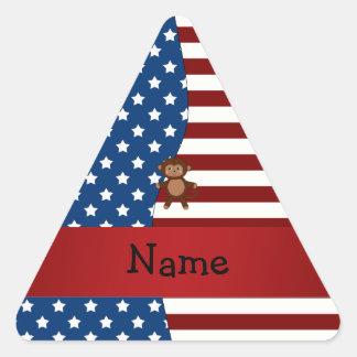 Personalized name Patriotic monkey Triangle Sticker