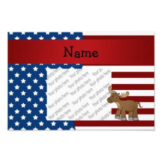 Personalized name Patriotic moose Photo Print