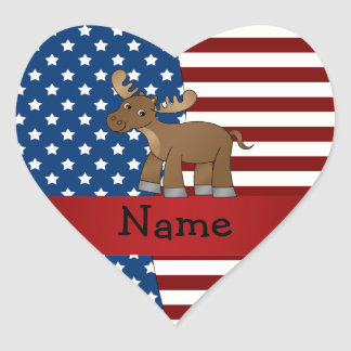 Personalized name Patriotic moose Heart Sticker
