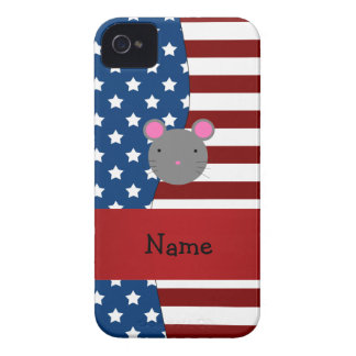Personalized name Patriotic mouse iPhone 4 Cases
