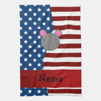 Personalized name Patriotic mouse Kitchen Towels