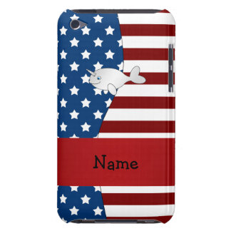 Personalized name Patriotic narwhal Barely There iPod Covers