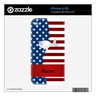 Personalized name Patriotic narwhal iPhone 4S Decal