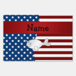 Personalized name Patriotic narwhal Lawn Sign