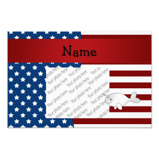 Personalized name Patriotic narwhal Photo Print