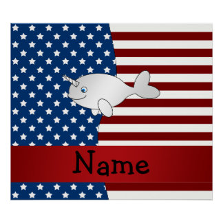 Personalized name Patriotic narwhal Poster