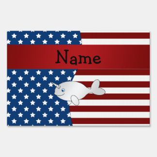 Personalized name Patriotic narwhal Sign