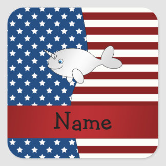 Personalized name Patriotic narwhal Stickers