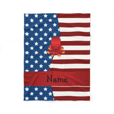 USA Themed Personalized name Patriotic octopus Fleece Blanket