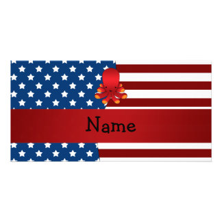 Personalized name Patriotic octopus Photo Card