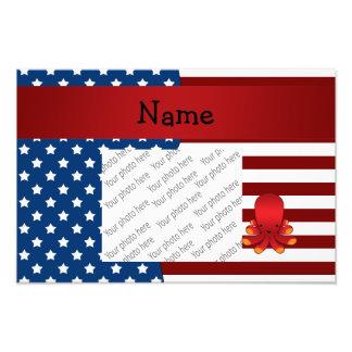 Personalized name Patriotic octopus Photo Print