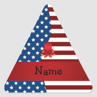 Personalized name Patriotic octopus Triangle Sticker