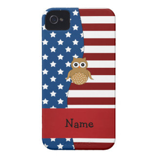 Personalized name Patriotic owl iPhone 4 Covers