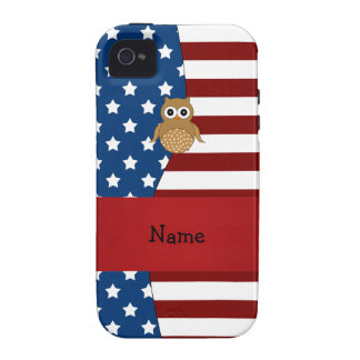 Personalized name Patriotic owl iPhone 4/4S Case