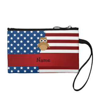 Personalized name Patriotic owl Coin Purse