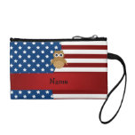 Personalized name Patriotic owl Coin Wallets