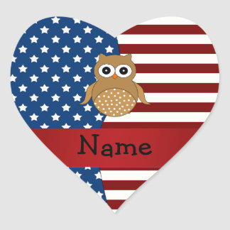 Personalized name Patriotic owl Heart Sticker