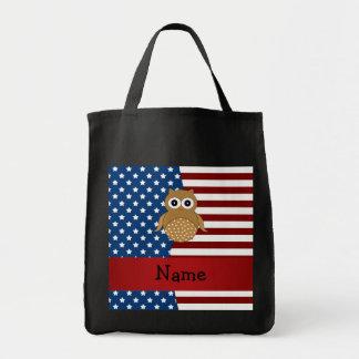 Personalized name Patriotic owl Tote Bag