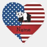 Personalized name Patriotic panda Heart Sticker
