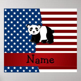 Personalized name Patriotic panda Poster