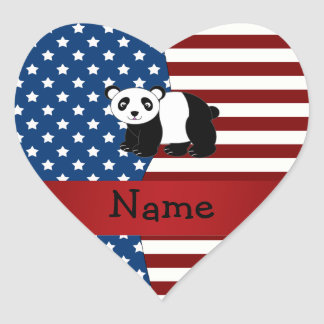 Personalized name Patriotic panda Stickers