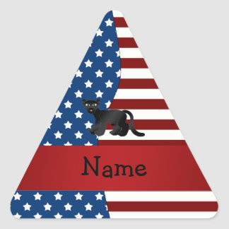 Personalized name Patriotic panther Triangle Sticker