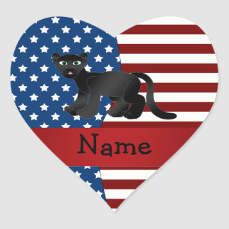 Personalized name Patriotic panther Heart Stickers