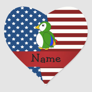 Personalized name Patriotic parrot Heart Sticker