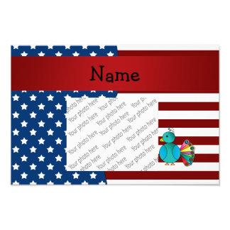 Personalized name Patriotic peacock Photo Print