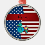Personalized name Patriotic peacock Round Metal Christmas Ornament